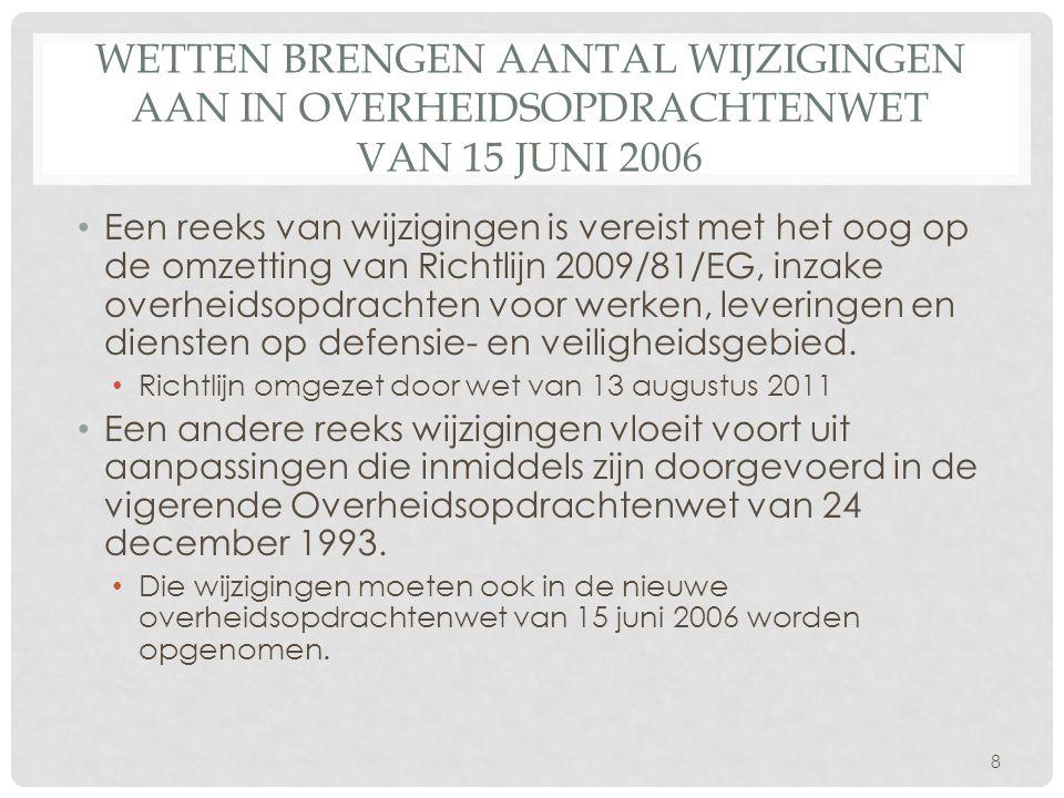 Wetten brengen aantal wijzigingen aan in Overheidsopdrachtenwet van 15 juni 2006