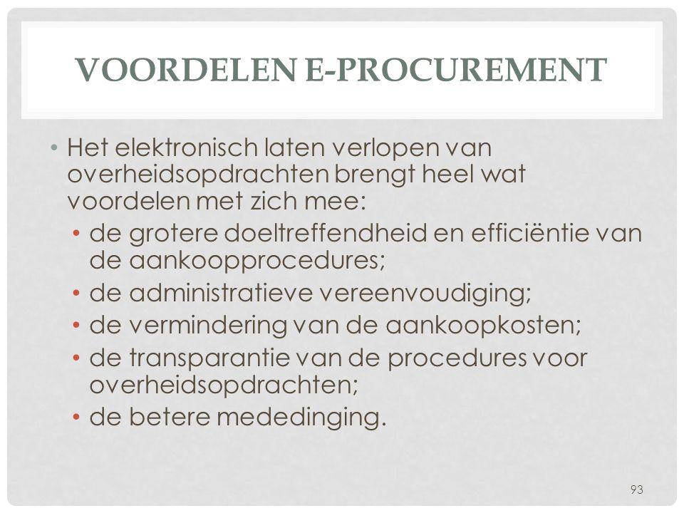 Voordelen e-procurement