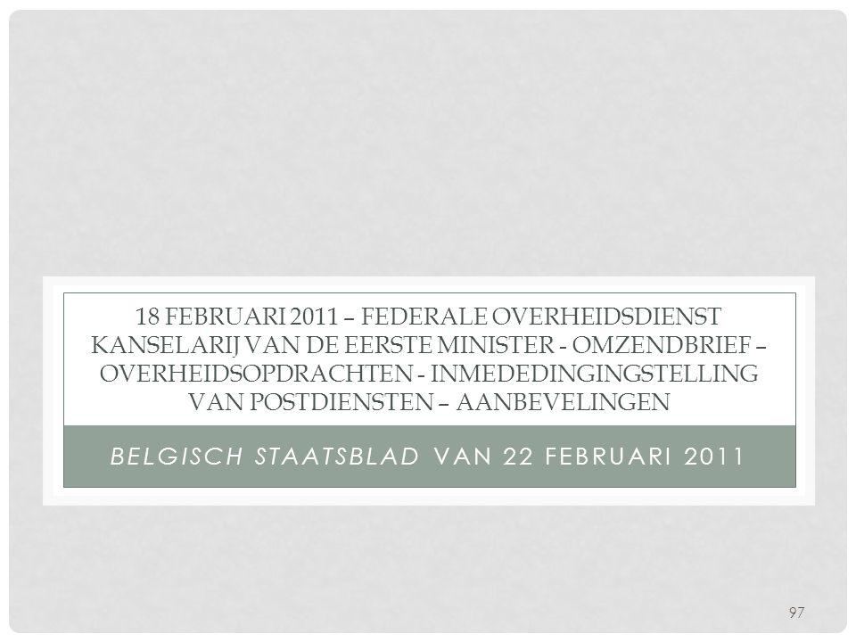 Belgisch staatsblad van 22 februari 2011