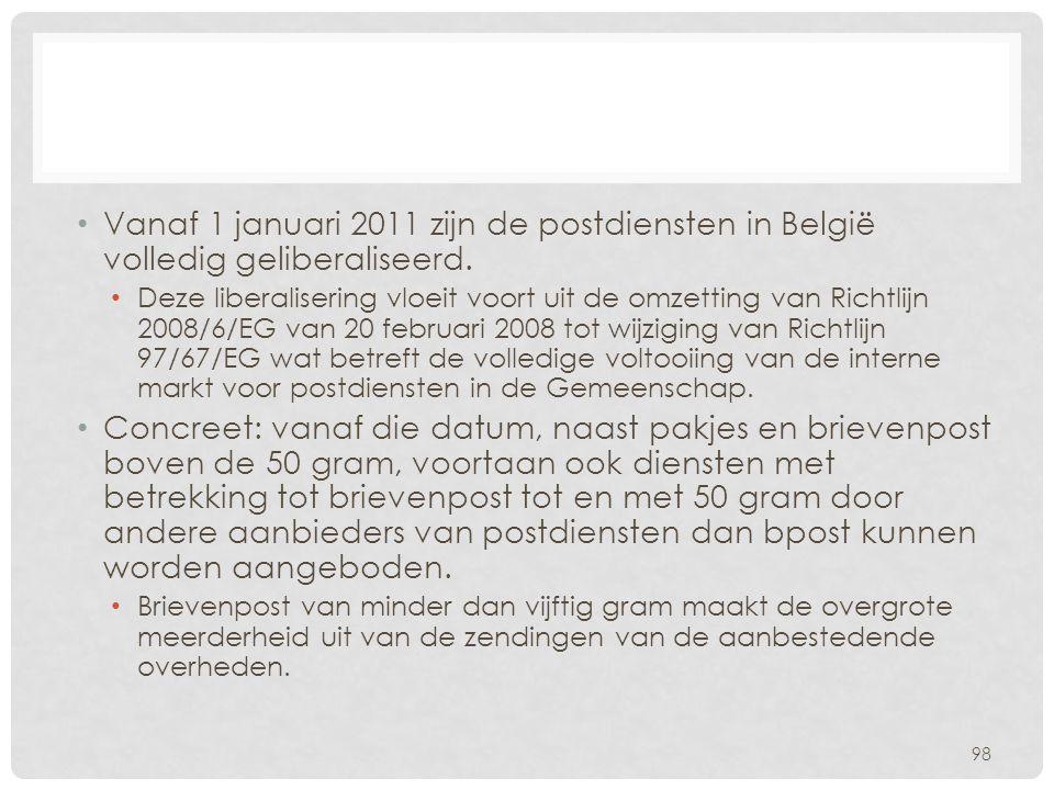 Vanaf 1 januari 2011 zijn de postdiensten in België volledig geliberaliseerd.