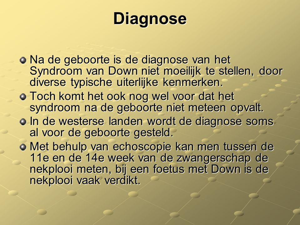 Diagnose Na de geboorte is de diagnose van het Syndroom van Down niet moeilijk te stellen, door diverse typische uiterlijke kenmerken.