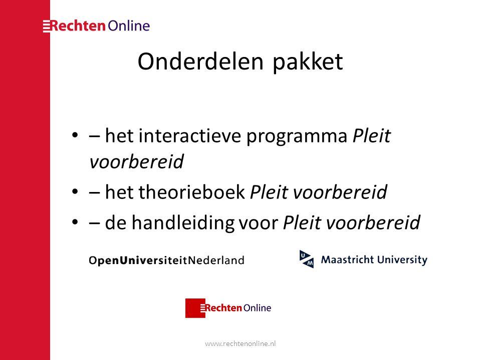 Onderdelen pakket – het interactieve programma Pleit voorbereid