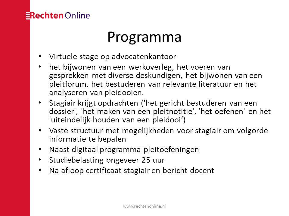 Programma Virtuele stage op advocatenkantoor