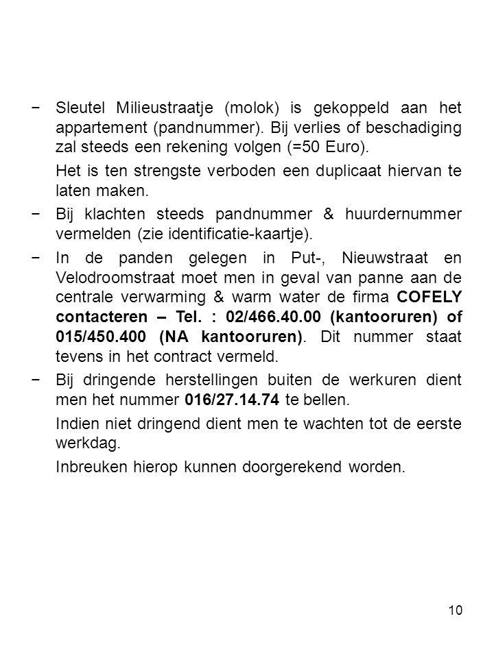 Sleutel Milieustraatje (molok) is gekoppeld aan het appartement (pandnummer). Bij verlies of beschadiging zal steeds een rekening volgen (=50 Euro).