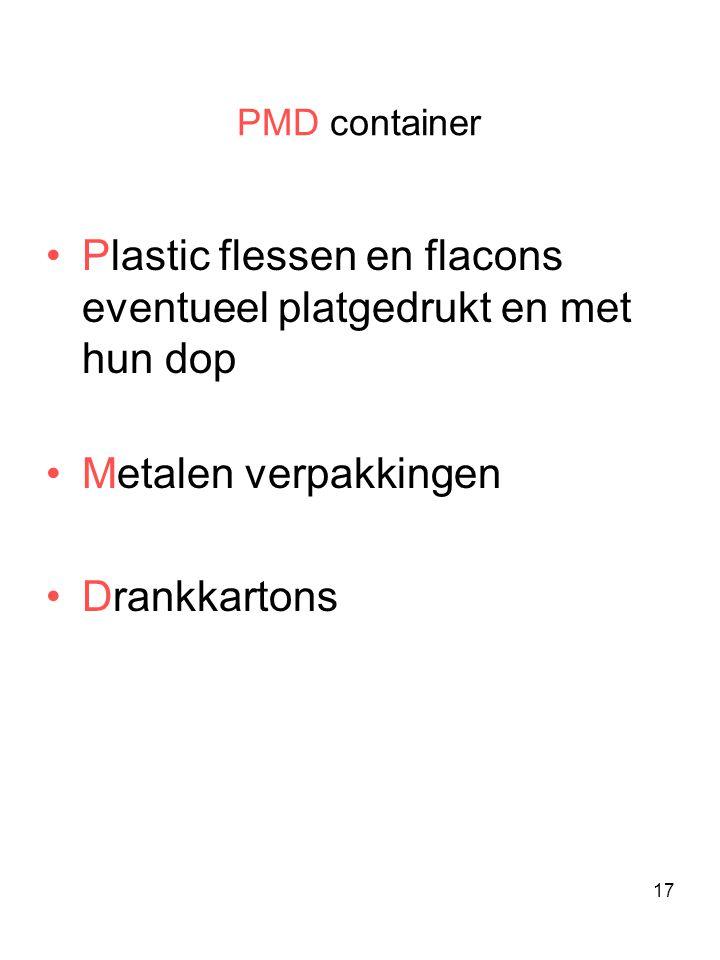 Plastic flessen en flacons eventueel platgedrukt en met hun dop