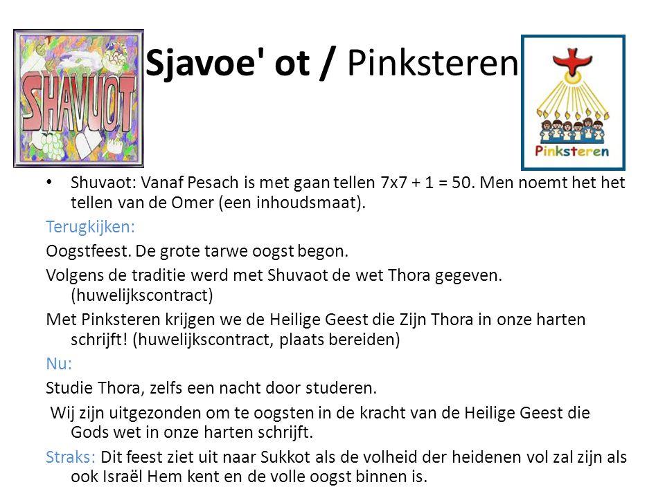 Sjavoe ot / Pinksteren Shuvaot: Vanaf Pesach is met gaan tellen 7x7 + 1 = 50. Men noemt het het tellen van de Omer (een inhoudsmaat).