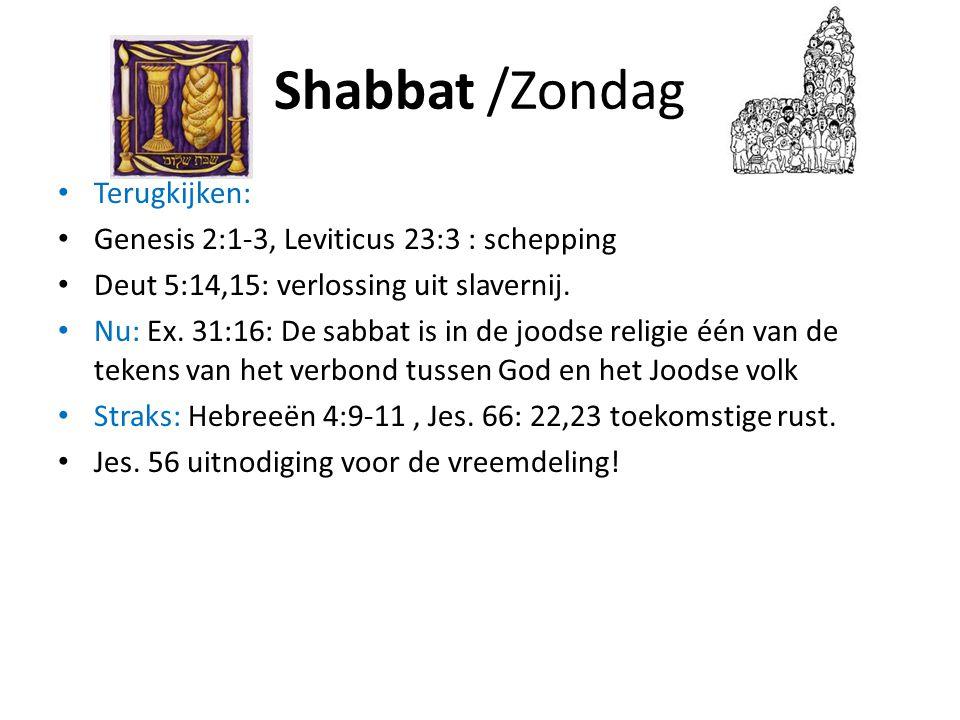 Shabbat /Zondag Terugkijken: Genesis 2:1-3, Leviticus 23:3 : schepping