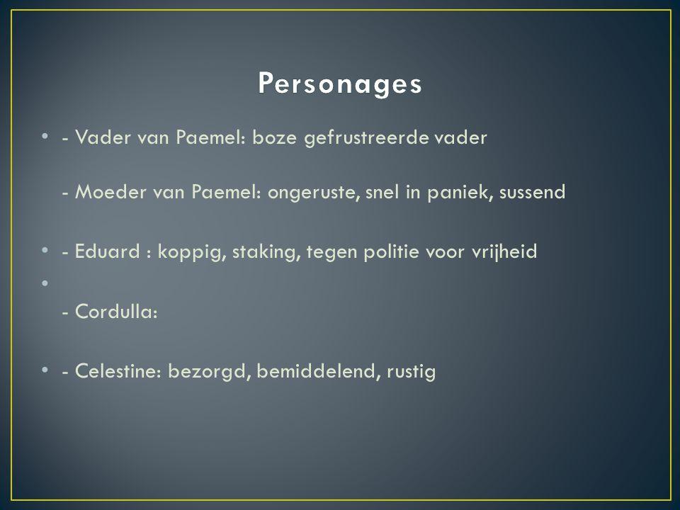 Personages - Vader van Paemel: boze gefrustreerde vader - Moeder van Paemel: ongeruste, snel in paniek, sussend.