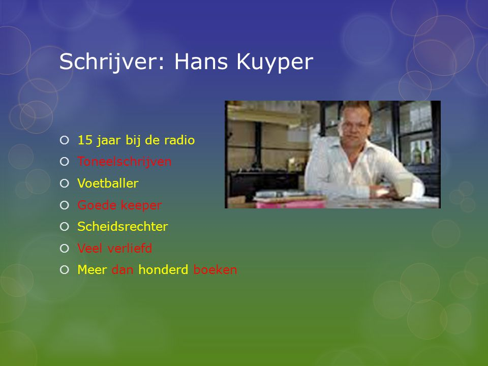 Schrijver: Hans Kuyper