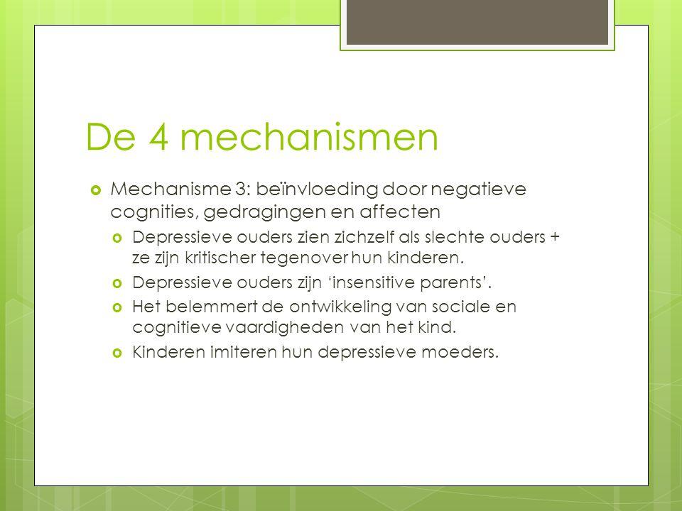 De 4 mechanismen Mechanisme 3: beïnvloeding door negatieve cognities, gedragingen en affecten.