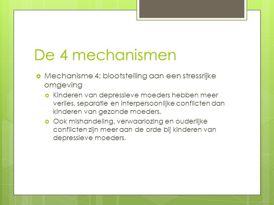 De 4 mechanismen Mechanisme 4: blootstelling aan een stressrijke omgeving.