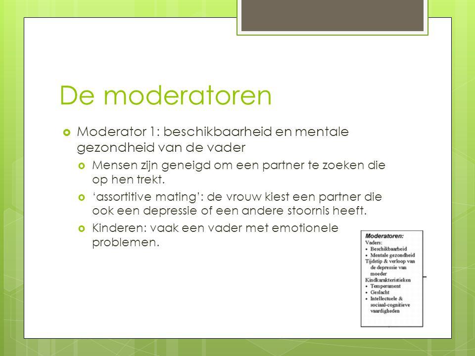 De moderatoren Moderator 1: beschikbaarheid en mentale gezondheid van de vader. Mensen zijn geneigd om een partner te zoeken die op hen trekt.