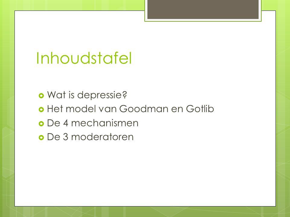 Inhoudstafel Wat is depressie Het model van Goodman en Gotlib