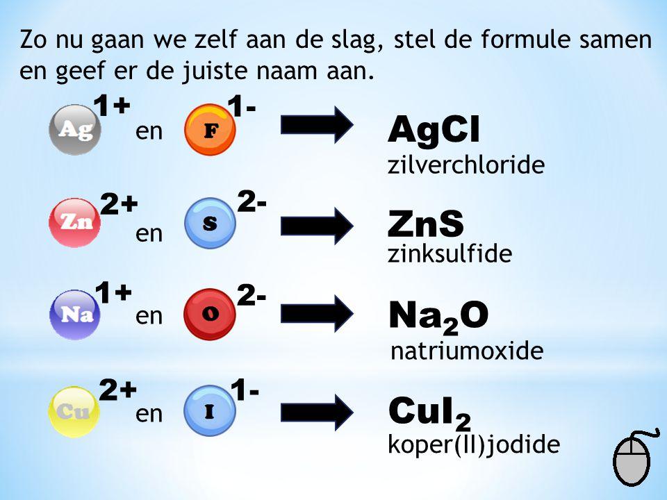 AgCl ZnS Na2O CuI2 1+ 1- 2+ 2- 1+ 2- 2+ 1-
