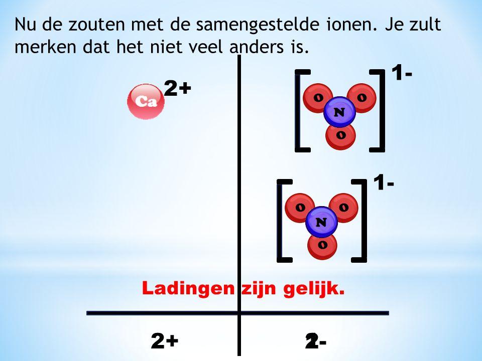 1- 2+ 1- 2+ 1- 2- Nu de zouten met de samengestelde ionen. Je zult
