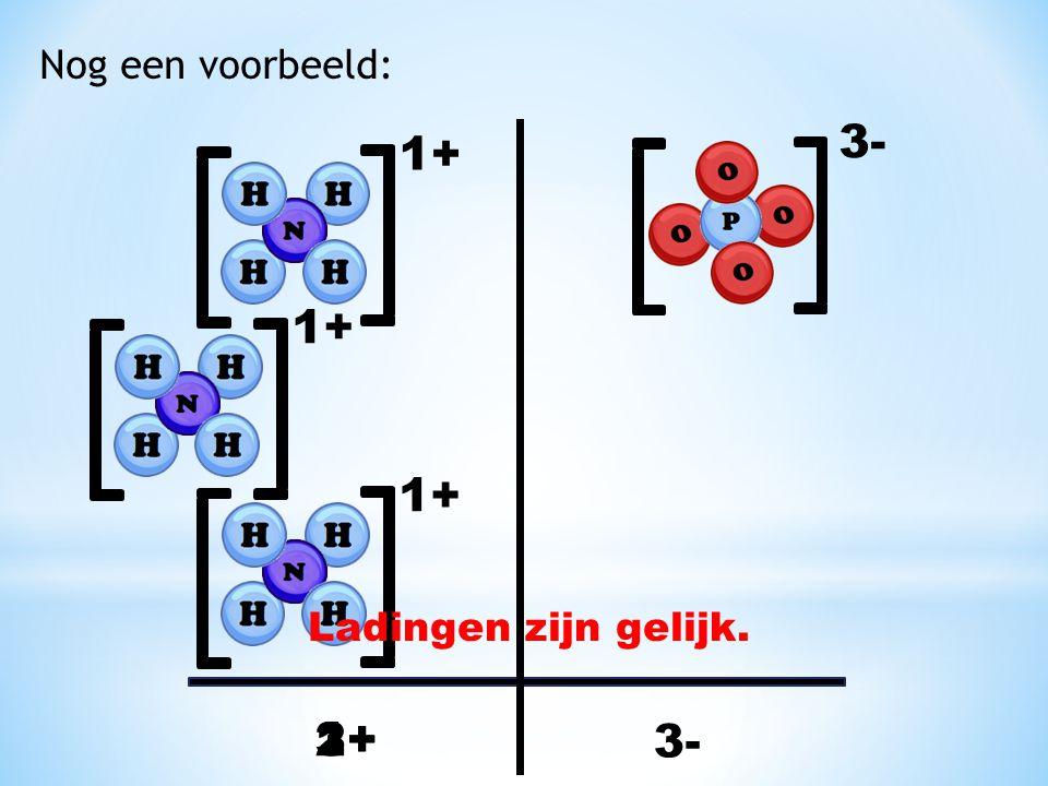 Nog een voorbeeld: 3- 1+ 1+ 1+ Ladingen zijn gelijk. 3+ 1+ 2+ 3-