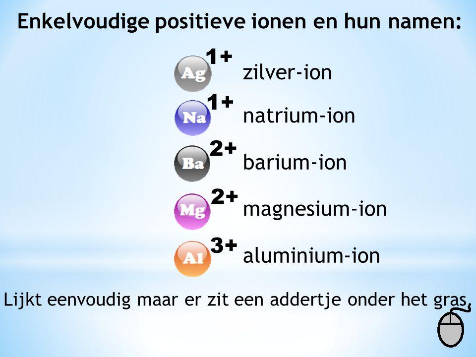 Enkelvoudige positieve ionen en hun namen: