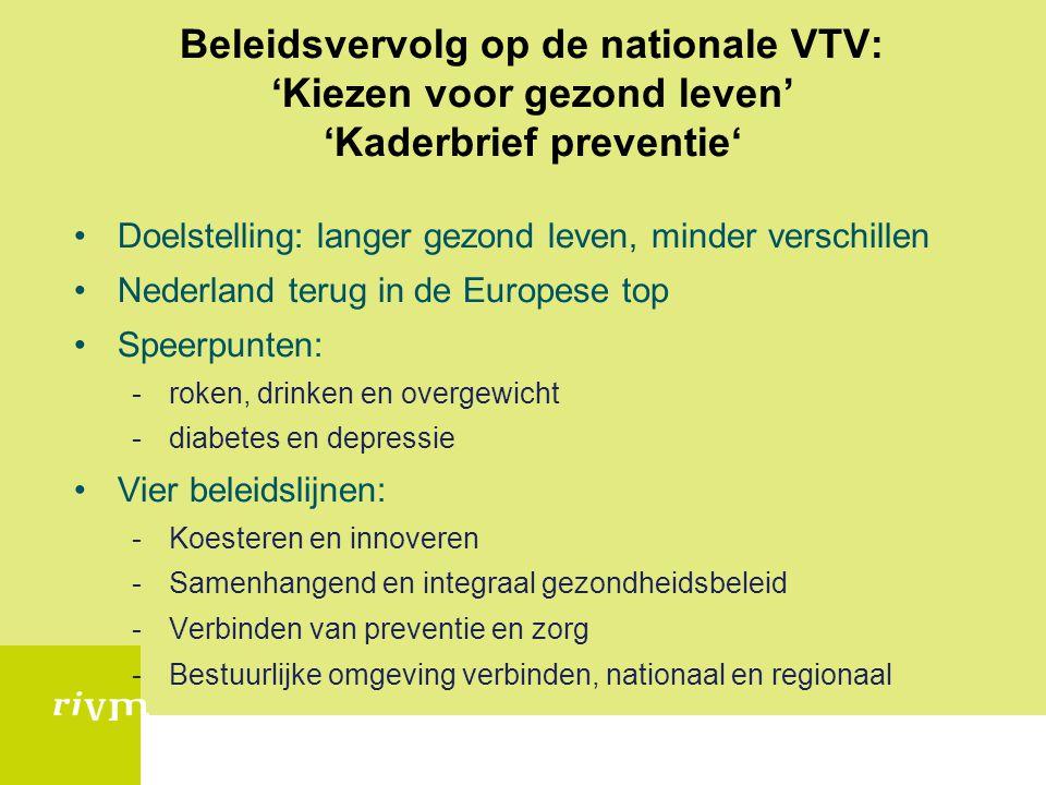 Beleidsvervolg op de nationale VTV: 'Kiezen voor gezond leven' 'Kaderbrief preventie'