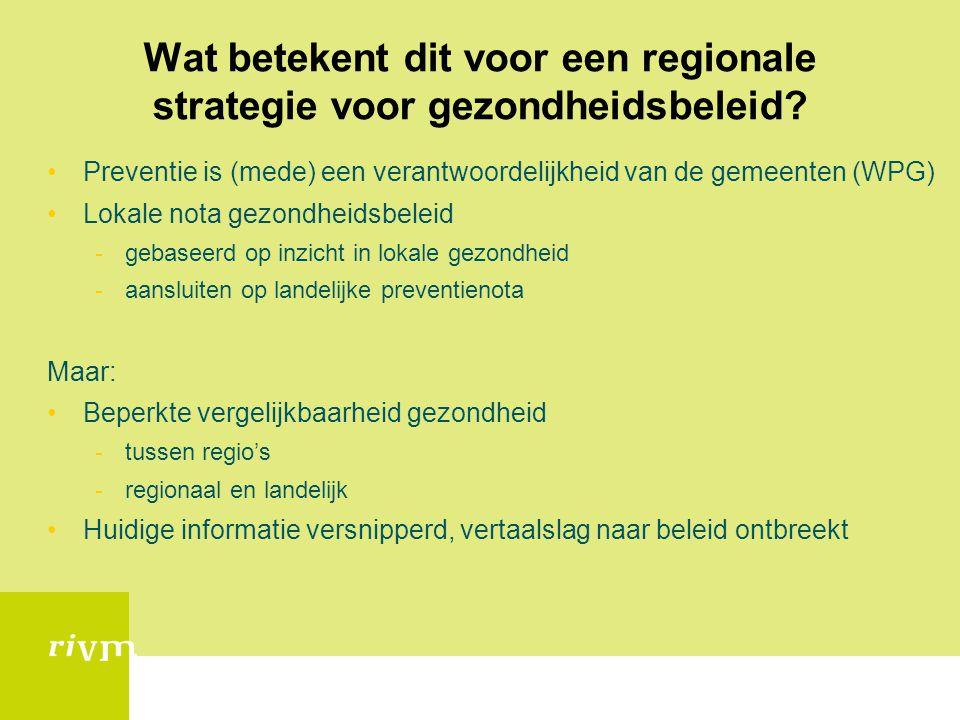 Wat betekent dit voor een regionale strategie voor gezondheidsbeleid