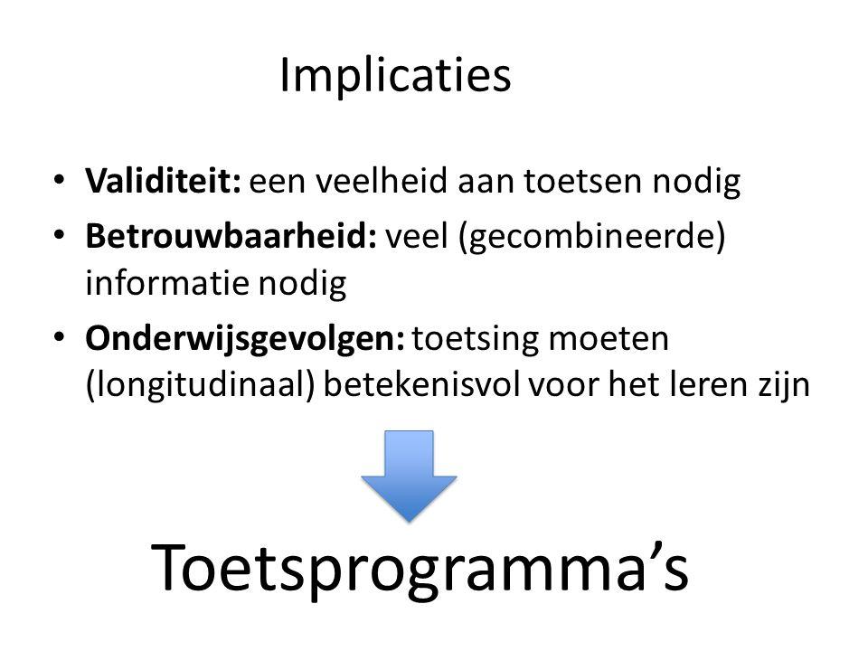 Toetsprogramma's Implicaties