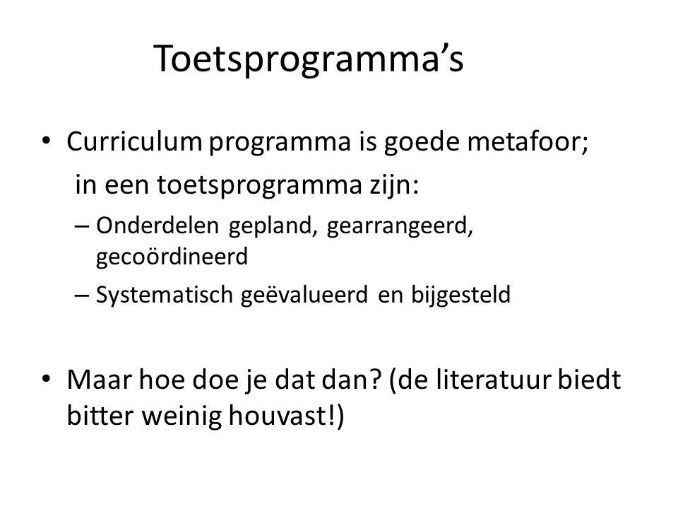 Toetsprogramma's Curriculum programma is goede metafoor;