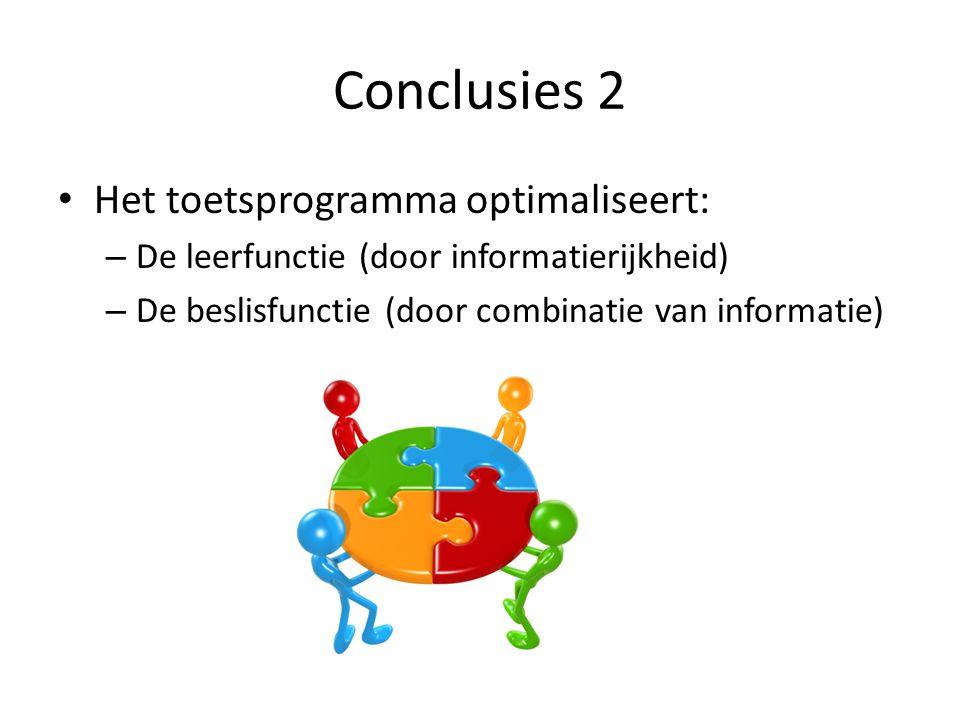 Conclusies 2 Het toetsprogramma optimaliseert: