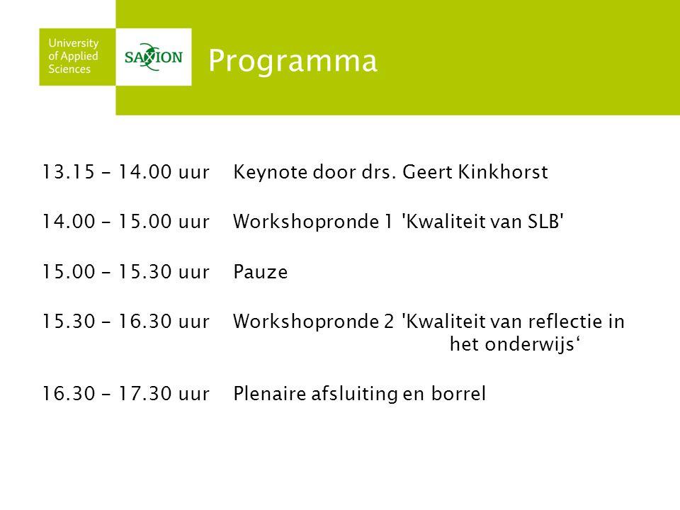 Programma 13.15 - 14.00 uur Keynote door drs. Geert Kinkhorst