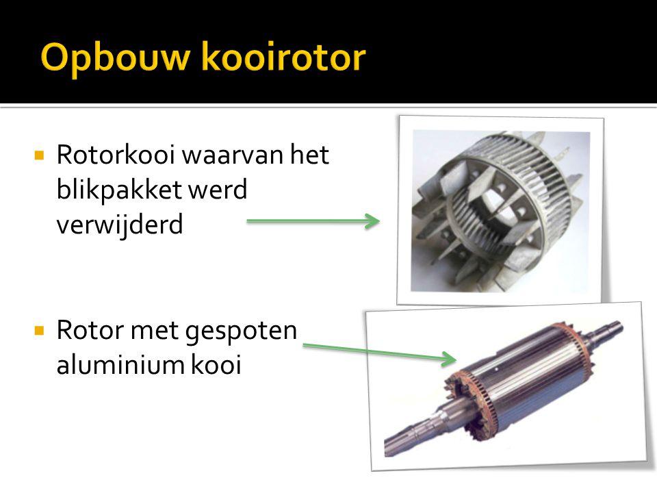 Opbouw kooirotor Rotorkooi waarvan het blikpakket werd verwijderd