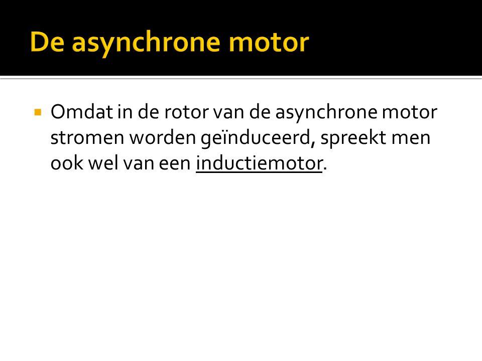 De asynchrone motor Omdat in de rotor van de asynchrone motor stromen worden geïnduceerd, spreekt men ook wel van een inductiemotor.