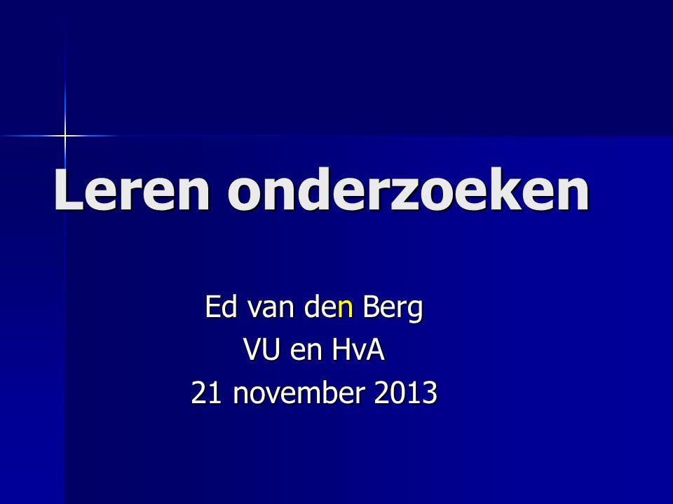 Ed van den Berg VU en HvA 21 november 2013