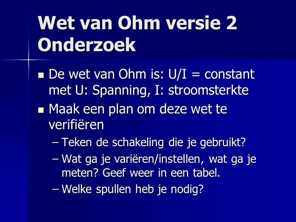 Wet van Ohm versie 2 Onderzoek