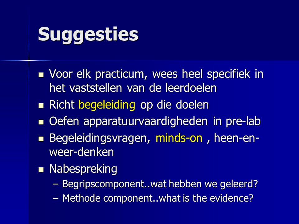 Suggesties Voor elk practicum, wees heel specifiek in het vaststellen van de leerdoelen. Richt begeleiding op die doelen.