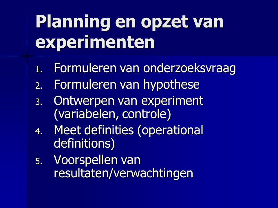 Planning en opzet van experimenten