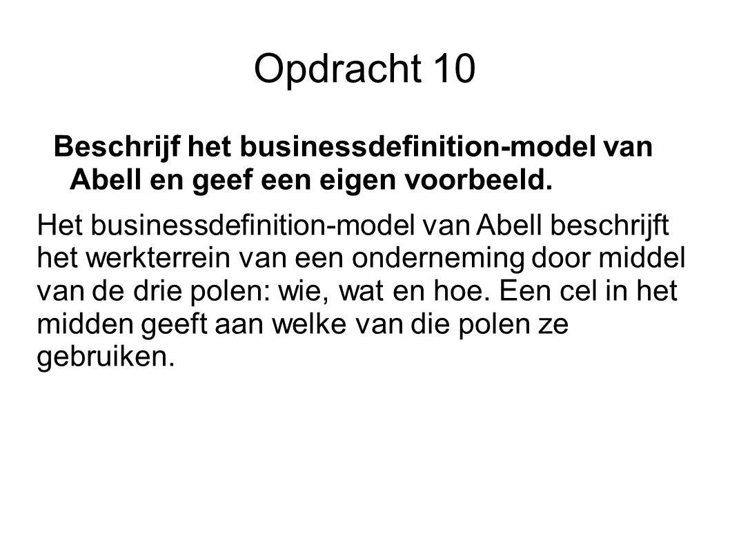 Opdracht 10 Beschrijf het businessdefinition-model van Abell en geef een eigen voorbeeld.