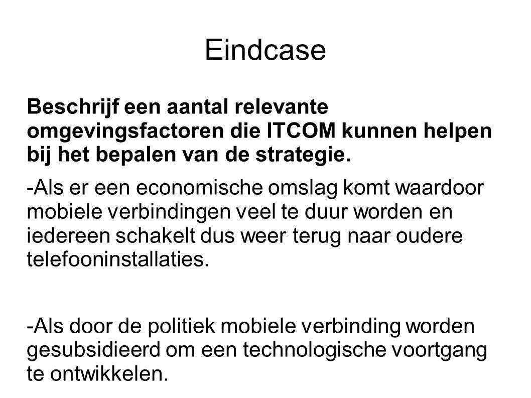 Eindcase Beschrijf een aantal relevante omgevingsfactoren die ITCOM kunnen helpen bij het bepalen van de strategie.
