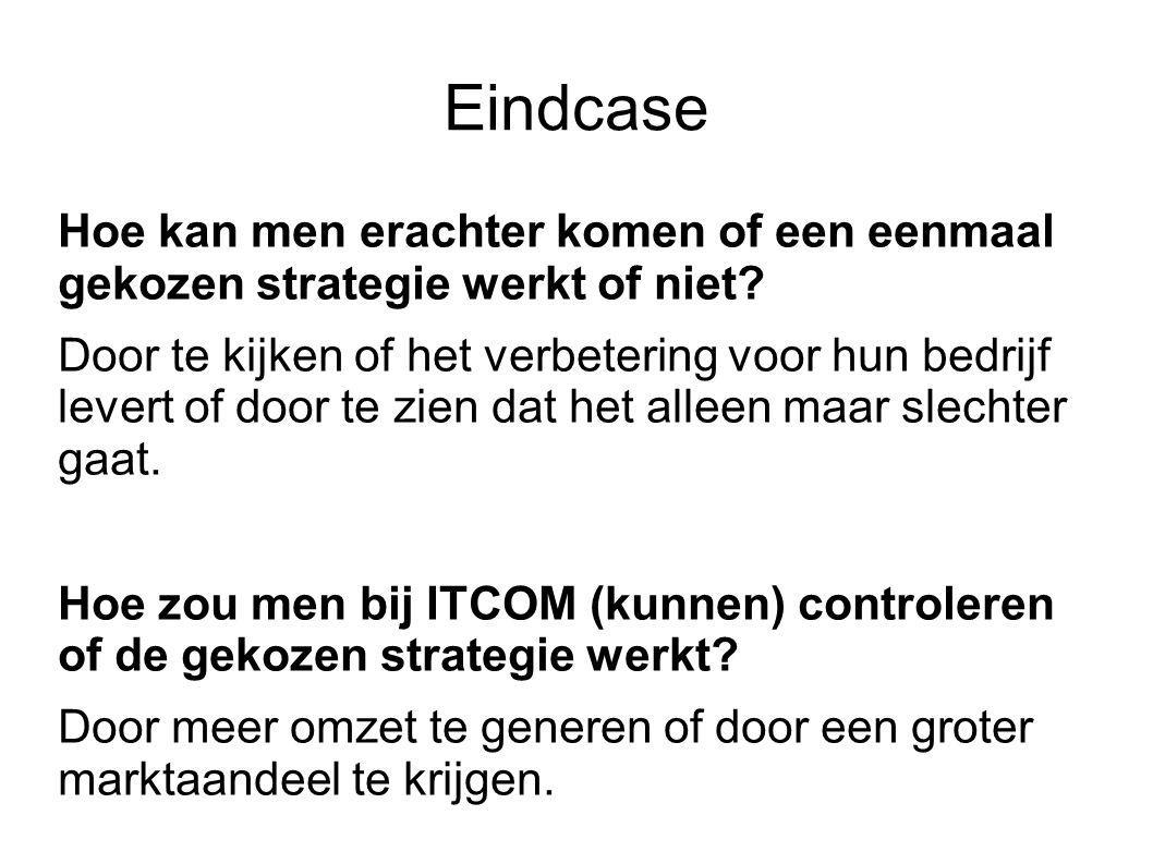 Eindcase Hoe kan men erachter komen of een eenmaal gekozen strategie werkt of niet