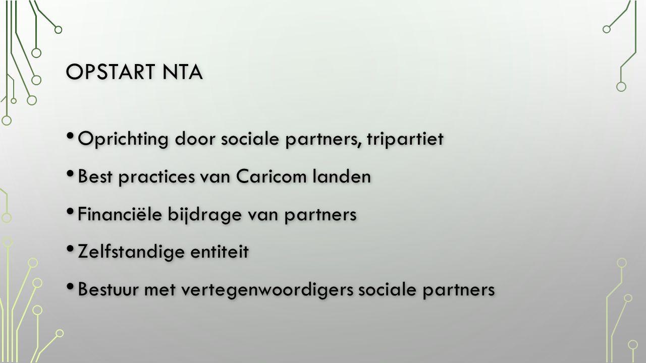 Opstart nta Oprichting door sociale partners, tripartiet