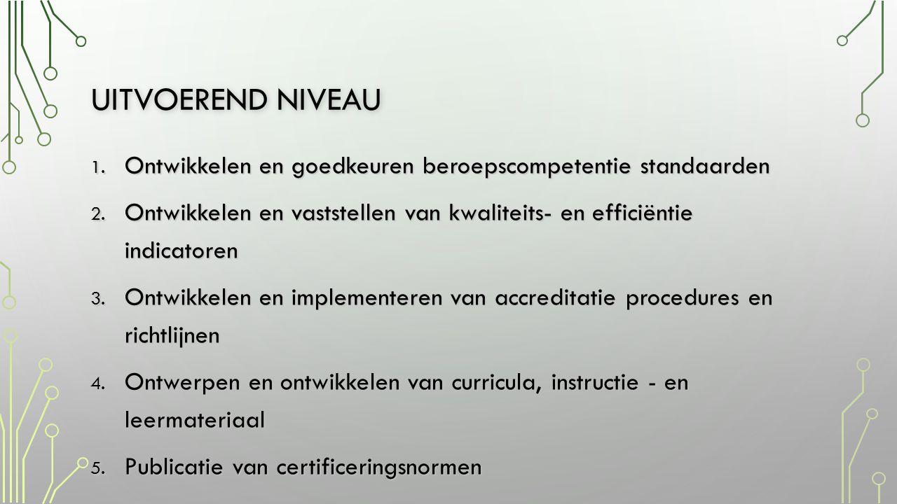 Uitvoerend niveau Ontwikkelen en goedkeuren beroepscompetentie standaarden. Ontwikkelen en vaststellen van kwaliteits- en efficiëntie indicatoren.