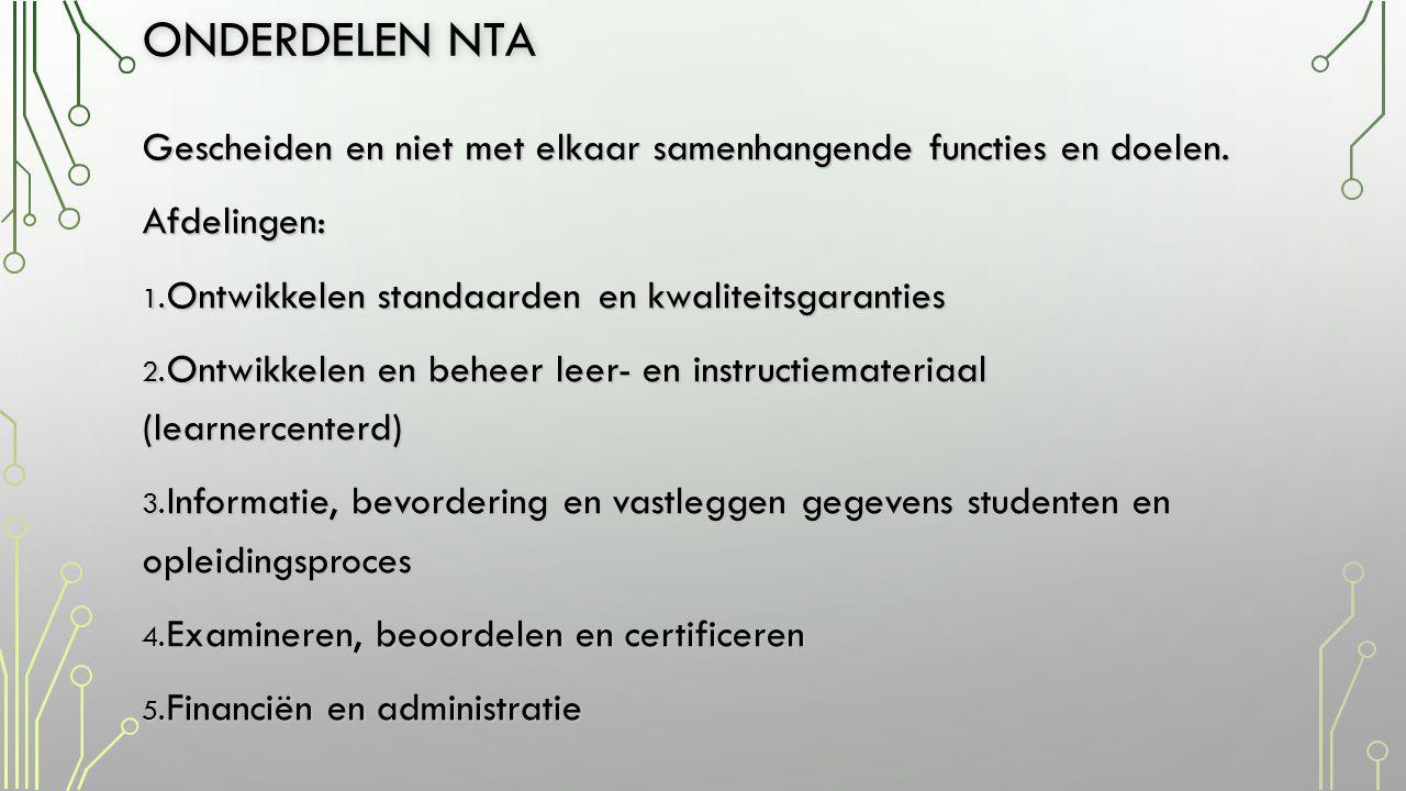 Onderdelen nta Gescheiden en niet met elkaar samenhangende functies en doelen. Afdelingen: Ontwikkelen standaarden en kwaliteitsgaranties.