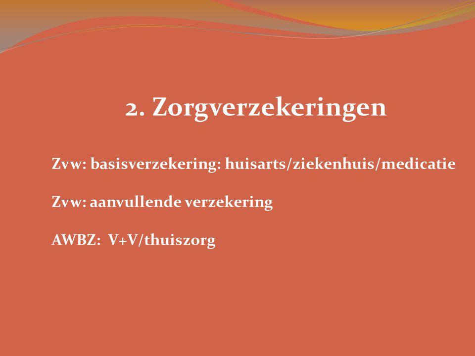 2. Zorgverzekeringen Zvw: basisverzekering: huisarts/ziekenhuis/medicatie. Zvw: aanvullende verzekering.