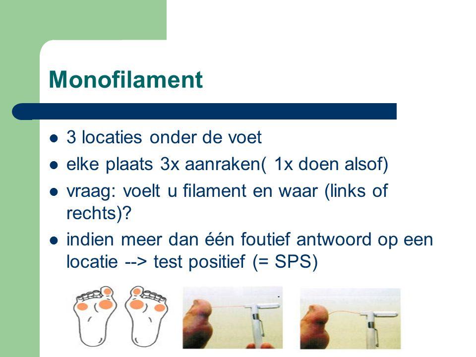 Monofilament 3 locaties onder de voet