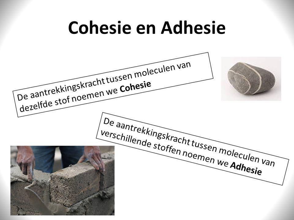 Cohesie en Adhesie De aantrekkingskracht tussen moleculen van dezelfde stof noemen we Cohesie.