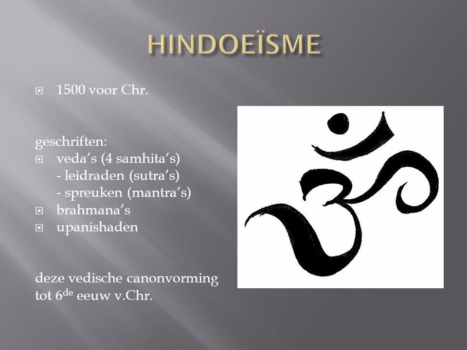 HINDOEÏSME 1500 voor Chr. geschriften: veda's (4 samhita's)