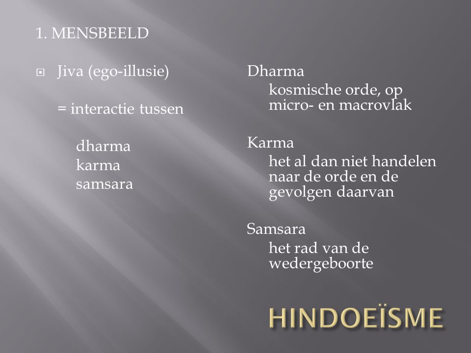 HINDOEÏSME 1. MENSBEELD Jiva (ego-illusie) = interactie tussen dharma