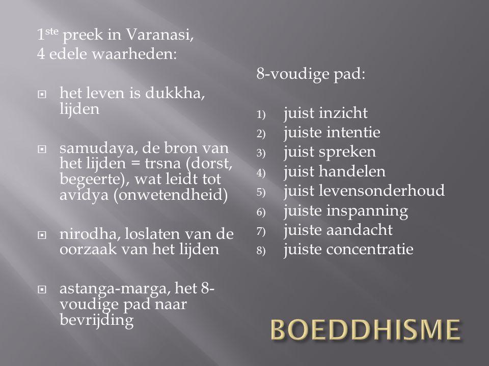 BOEDDHISME 1ste preek in Varanasi, 4 edele waarheden: 8-voudige pad: