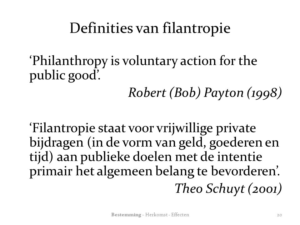 Definities van filantropie