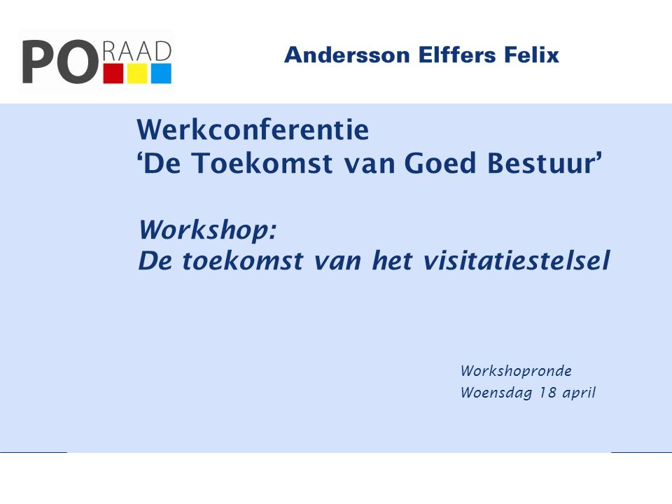 Workshopronde Woensdag 18 april