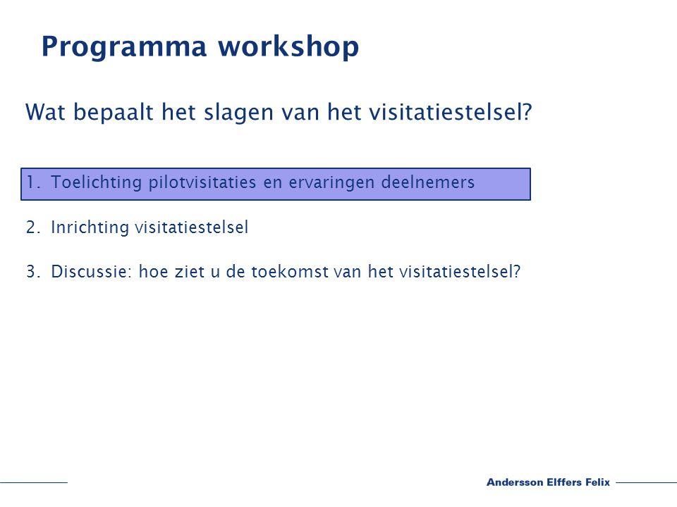 Programma workshop Wat bepaalt het slagen van het visitatiestelsel