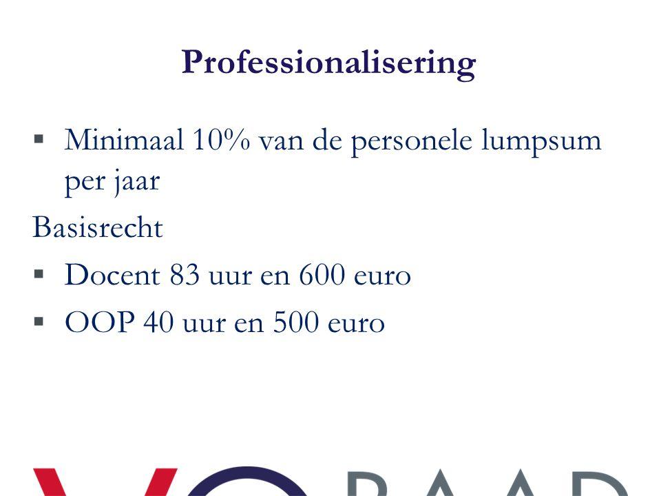 Professionalisering Minimaal 10% van de personele lumpsum per jaar