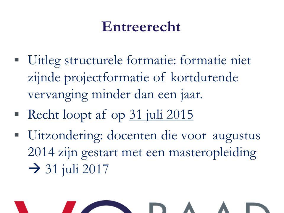 Entreerecht Uitleg structurele formatie: formatie niet zijnde projectformatie of kortdurende vervanging minder dan een jaar.